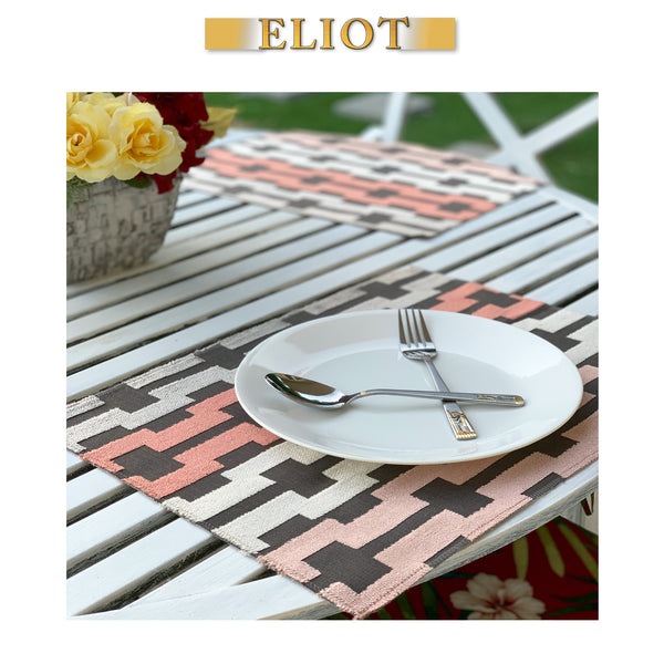 Bardot - Pack of 4 Beautiful Cut Velvet One-Side Placemats - Color: Blush