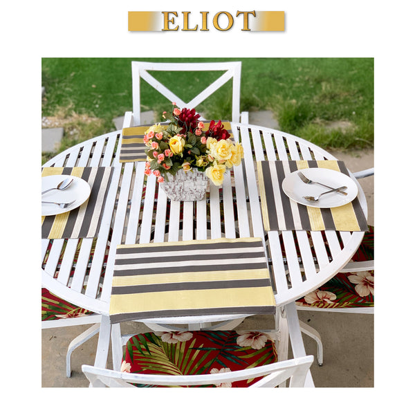 Richmond - Pack of 4 Beautiful Cut Velvet One-Side Placemats - Color: Sunny