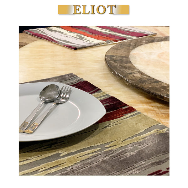 Cirrus - Pack of 4 Beautiful Cut Velvet Placemats - Color: Ruby