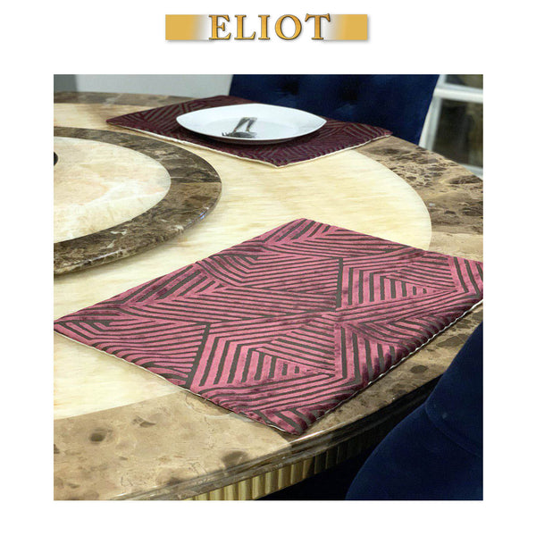 Otis - Pack of 2 Beautiful Cut Velvet Placemats - Color: Sunset