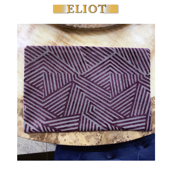 Otis - Pack of 4 Beautiful Cut Velvet Placemats - Color: Fig