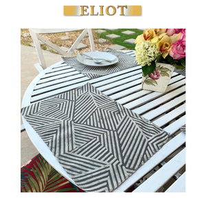 Aurora - Pack of 4 Beautiful Geometric Burnout Velvet One-Side Placemats - Color: Cobblestone