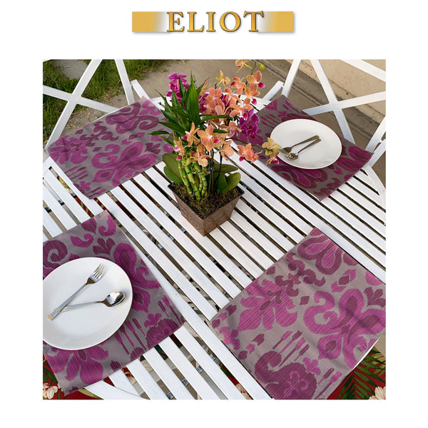Sutra - Pack of 4 Beautiful Jacquard Ikat One-Side Placemats - Color: Fig