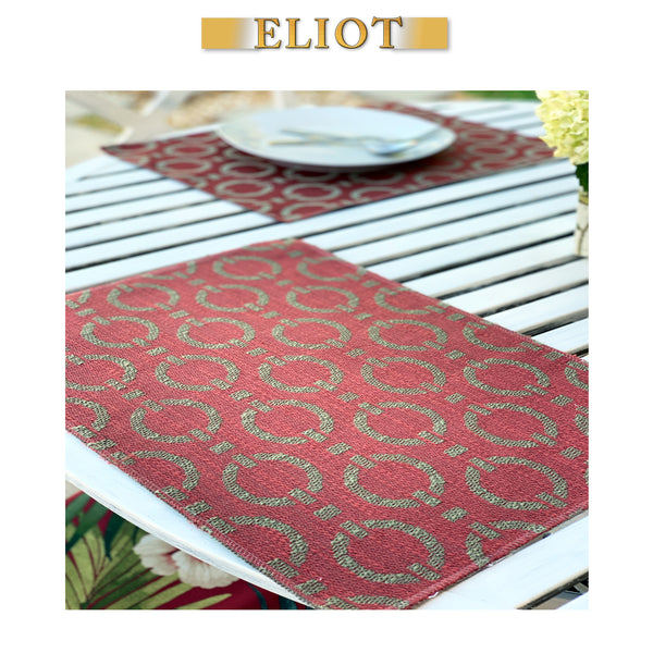 Bond - Pack of 4 Beautiful Jacquard Woven Geometric One-Side Placemats - Color: Henna