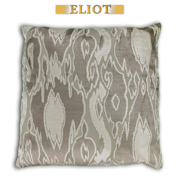 Harrow - Modern Pattern Cut Velvet Pillow - Double-Sided - Color: Beach
