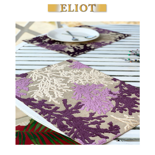 Reef - Pack of 4 Beautiful Cut Velvet One-Side Placemats - Color: Fig