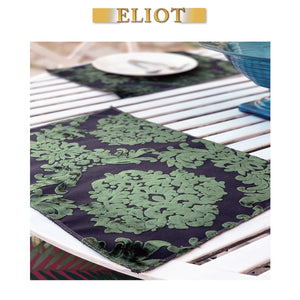 Florence Palace - Pack of 4 Beautiful Burnout Damask Velvet One-Side Placemats - Color:Emerald