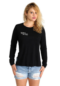 Margaret - Women's Side Slit Long Sleeve Tee - Color: Black