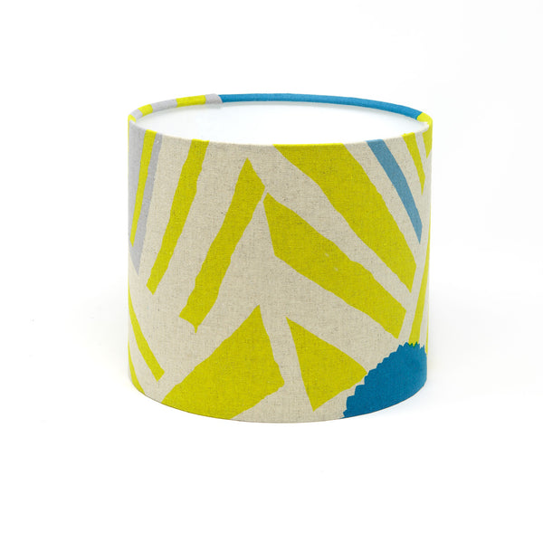 Yellow and Blue Linen Lampshade