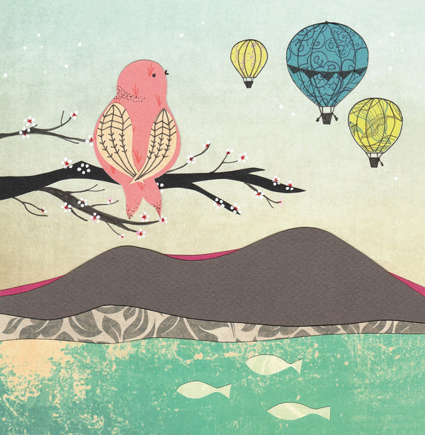 Birds and Hot Air Balloons Greetings Card