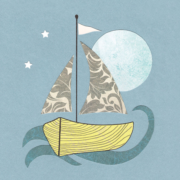Night Boating Greetings Card