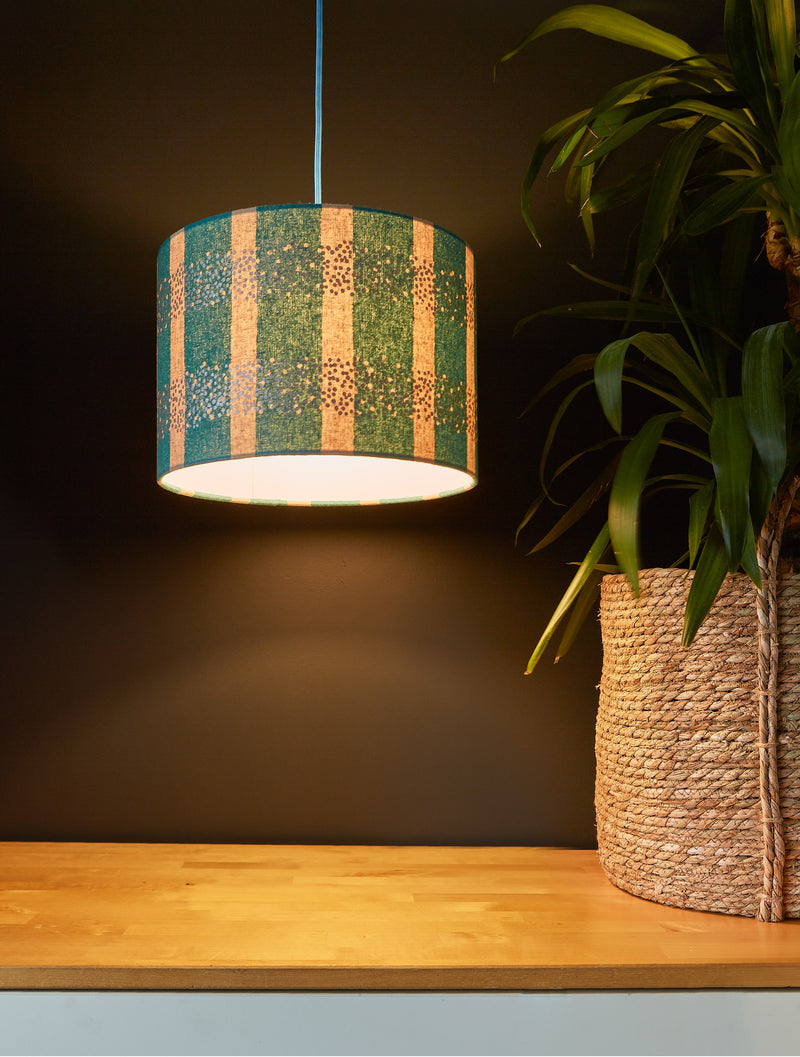 Turquoise and Silver Dusting Lampshade