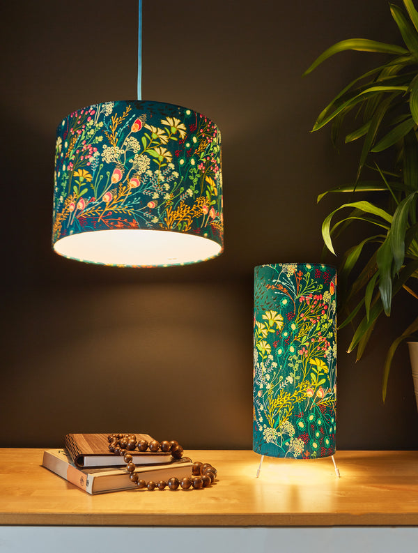 Teal Wildflower Lampshade