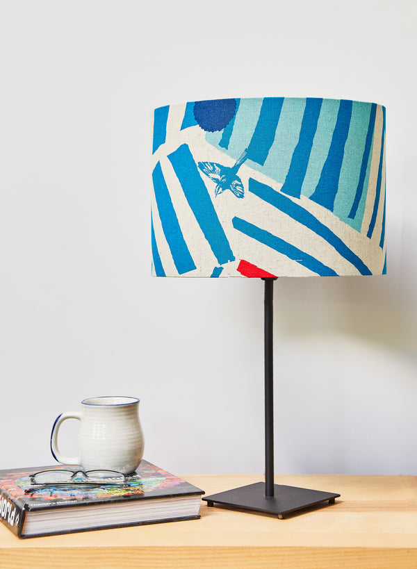 Red and Blue Linen Lampshade