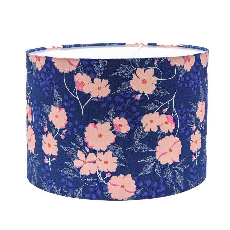 Dark blue cotton lampshade with bright images of soft pink flowers. Great addition to bedroom, living room, kitchen, landing or lamp.