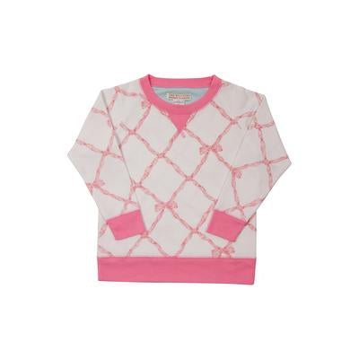 Cassidy Comfy Crewneck Girls French Terry Belle Meade Bow/Hamptons Hot Pink