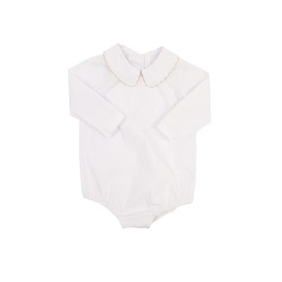 Peter Pan Shirt-Woven Long Sleeve White/Khaki Gingham