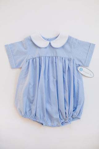 Light Blue Mini Gingham and White Peter Pan Collar