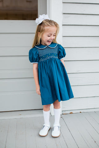 Royal with White & Navy Smocked w Green Flowers Dress