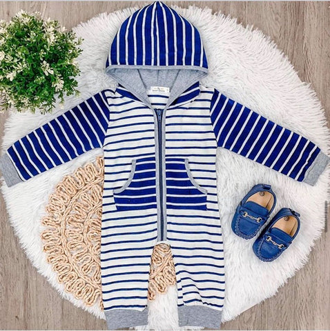 Navy Striped Boy Hoodie Jumpsuit