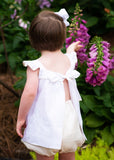 Sally Swing Set- White Linen w/ Khaki Trim & Bloomer