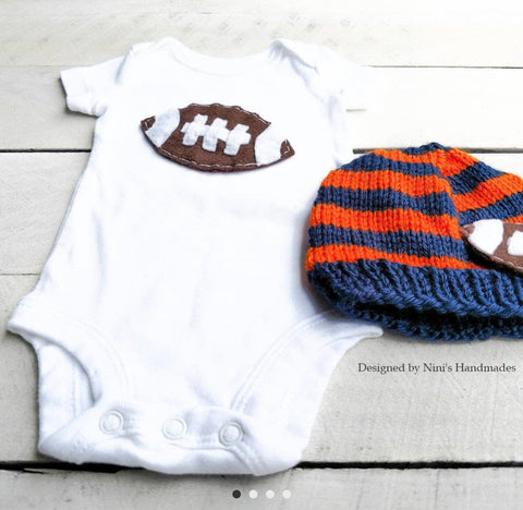 Navy and Orange Football Bodysuit Set