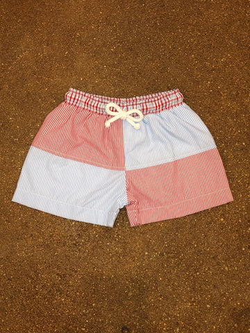 3 Sisters Red/Blue Striped Block Swim Trunks