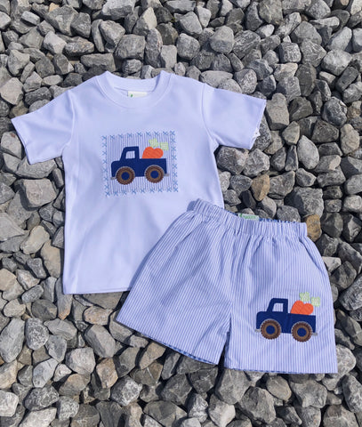 Basic Truck Appliqué Knit Shirt w/reversible Appliqué Shorts