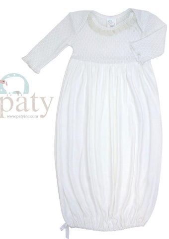Paty Long Sleeve Knit Gown with White Chiffon Trim