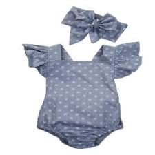 Dixie Blue Polka Dot Romper