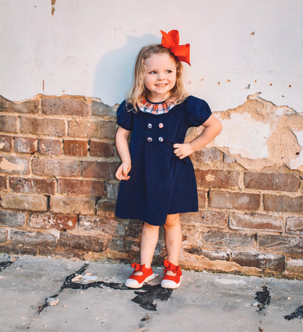 Navy Cord Button Dress
