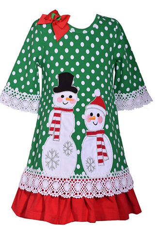 Green Polka Dot Snowman Dress