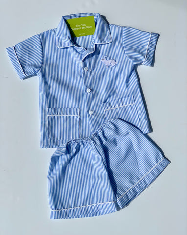 Bunny Blue Striped Pj Set