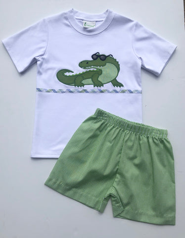 Green Alligator Short Set