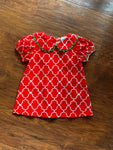 Red and white quatrefoil dress