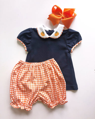 Navy Bloomer Set with Pumpkin Embroidery