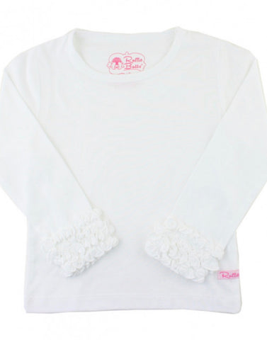 White Ruffled Long Sleeve Layering Tee