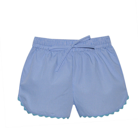 Bailey Short- Blue Mini Gingham w/ Teal Ric Rac Trim