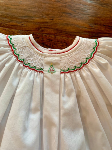 White Smocked Mini Christmas Tree Dress