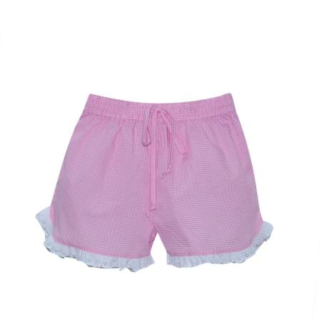 Bailey Short- Pink Mini Gingham w/ White Eyelet Trim