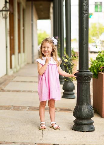Olivia Dress-Pink Mini Gingham w/ White Yoke Collar