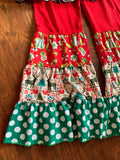 I LOVE SANTA green/white polka dot set