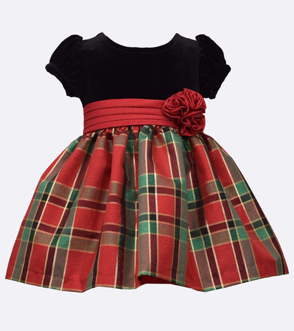 Green and Red Plaid Christmas Dress