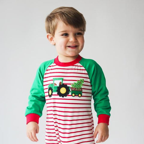 Christmas Tree Applique Boy's Romper