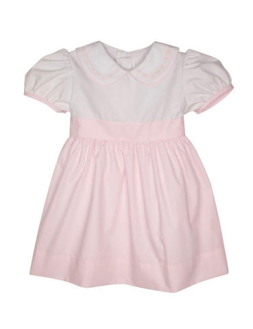 Cindy Lou Sash Dress White w/ plantation pink