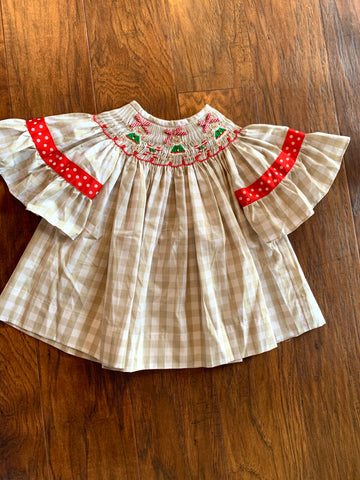 Gingerbread Smocked Bishop Dress