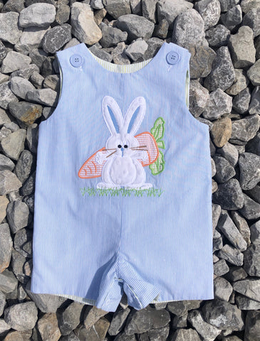 Appliqué Bunny/Turtle Reversible Shortall