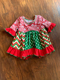 Red & Green Snowflake Panel Dress & Bloomers