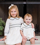 White Corduroy Dress with Green Piping