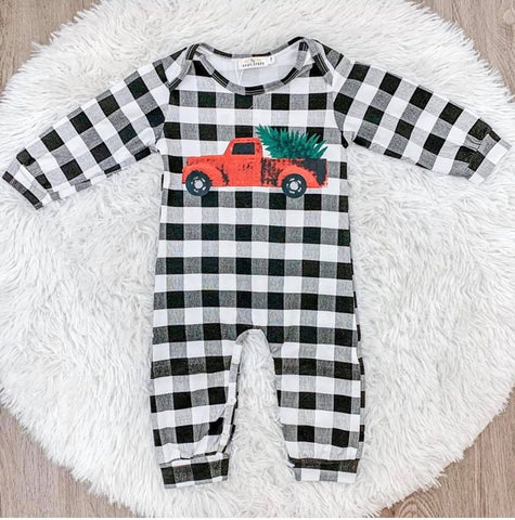 Red Plaid Truck Jumpsuit